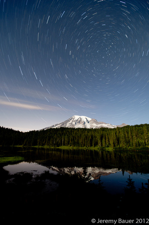 Star Trails over Reflection Lake, Mt Rainier National Park
